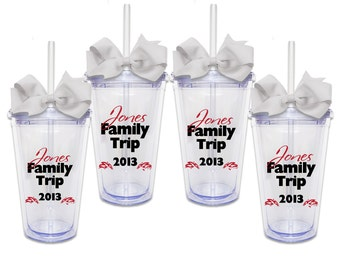 Set of 4 Family Vacation w/ Names - Acrylic Tumbler Personalized Cup