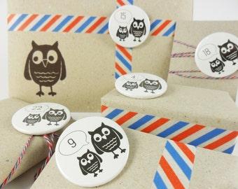 24 owl advent calendar badges (each 3,8cm) // advent - christmas