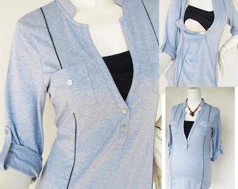 MEL Nursing Shirt /  Maternity Clothes / Nursing Tops / Breastfeeding Top / NEW Original Design BLUE / Nursing Tops for Breastfeeding