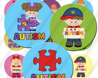 INSTANT DOWNLOAD Autism 4x6 Bottle Cap Images Digital Collage Sheet for bottlecaps 1in