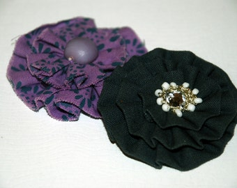 Navy and purple Flower Hair clip. girl hair accessory.