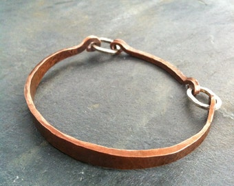 Hammered copper with sterling