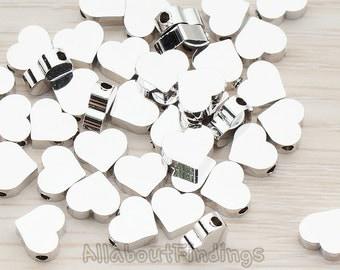 BDS919-02-R // Glossy Original Rhodium Plated Sharpen Heart Metal Bead, 6 Pc