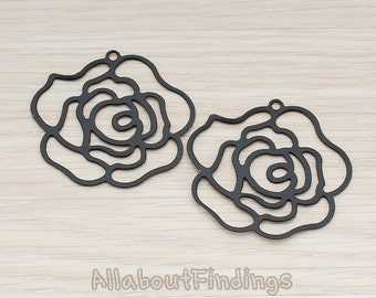 PDT203-B // Black Jewelry Paint Coated Silhouette Rose Pendant, 2 Pc