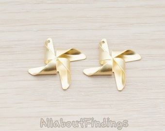 PDT508-MG // Matte Gold Plated Pinwheel Pendant, 2 Pc