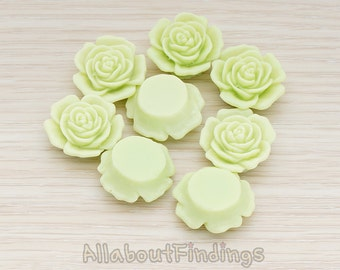 CBC038-LG // Lime Green Colored Mary Rose Flower Flat Back Cabochon, 4 Pc