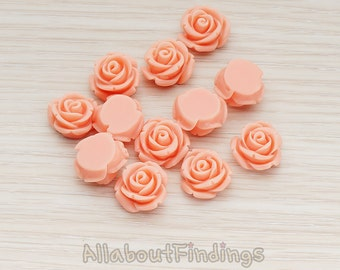 CBC141-01-CO // Coral Colored Curved Petal Rose Flower Flat Back Cabochon, 6 Pc