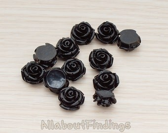 CBC141-01-BL // Black Colored Curved Petal Rose Flower Flat Back Cabochon, 6 Pc
