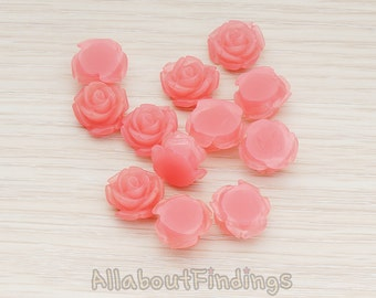 CBC141-01-IP // Ice Pink Colored Curved Petal Rose Flower Flat Back Cabochon, 6 Pc