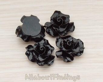 CBC191-BL // Black Colored Bloom Rose Flower Flat Back Cabochon, 4 Pc