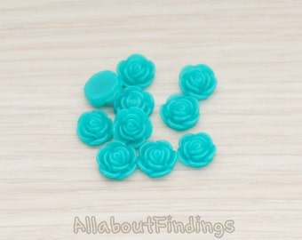 CBC3001-TL // Teal Colored Small Flat Rose Flower Flat Back Cabochon, 10 Pc