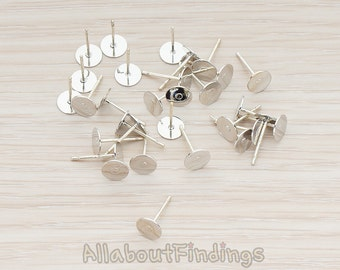 ERG874-02-S // SIlver Plated 6 mm Pad 925 Sterling Silver Ear Stud Ear Post, 12 Pc