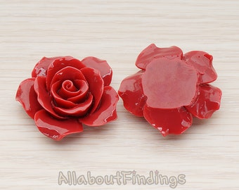 CBC157-07-IR // Indian Red Colored 35mm Angelique Rose Flower Flat Back Cabochon, 2 Pc