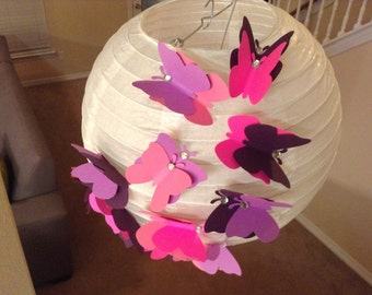 "10"" Pink and purple Princess, butterfly paper lantern, wedding lantern, butterfly decor, butterfly birthday, butterfly party, paper lantern"
