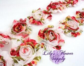 1/2 Yard - Shabby Flower Trim - Shabby Rose trim - FLORAL - NOT FRAYED - Shabby Chic - Rose Trim - Wholesale