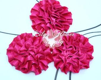 Satin Petti Puff - SET of THREE - Hot Pink - Satin Flower - Puff Flower  - Rosettes - Satin rosettes - Rolled Rosettes - Wholesale - Supply
