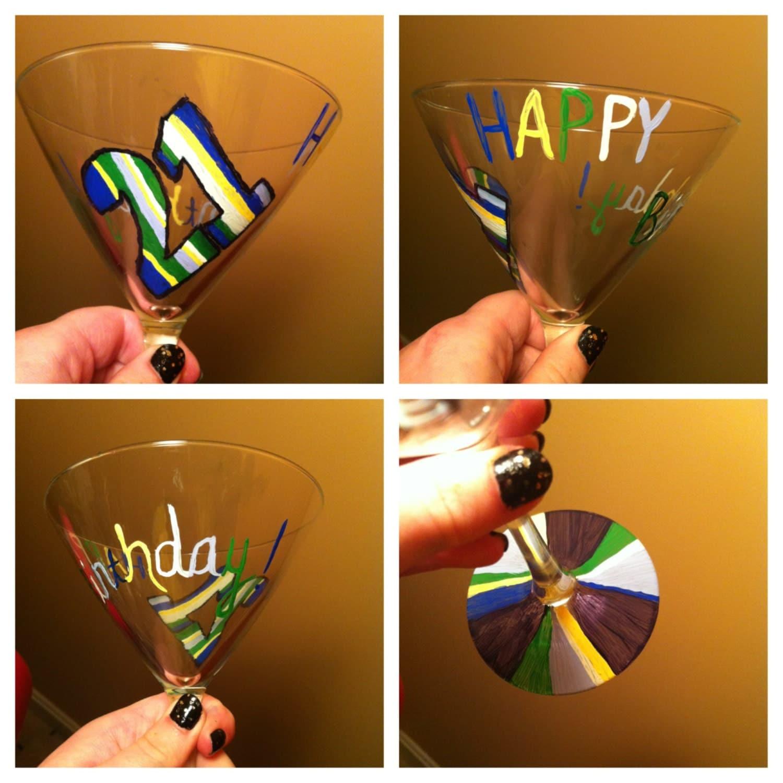 "Items Similar To 1 21st Birthday Themed Martini Glass. ""21"