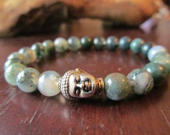 Moss Agate and Buddha Bracelet for Women or Men, Wrist Mala, Yoga Bracelet, Yoga Jewelry, Meditation Bracelet, Energy Bracelet, Gift for Men