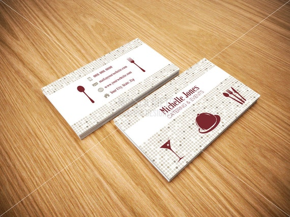 Printable catering services business cards custom cards catering il570xn reheart Choice Image