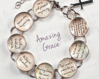 "Amazing Grace Hymn & Scripture Glass Charm Bracelet, 6.75""-8.75"""