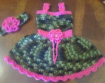 Camo and pink baby dress & headand wirh flower, Easter dress, baby girl camo dress, crochet toddler camo and pink dress, camoflage pink