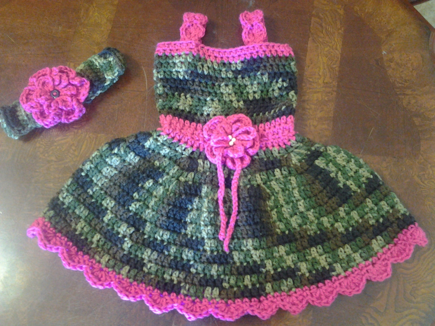 Camo And Pink Baby Dress Amp Headand Wirh Flower Easter Dress