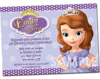 Sofia the First Birthday Invitation - Printable Party Invite - Custom Personalized Digital DIY Invitation 4x6 or 5x7 Princess Sofia Sophia