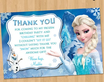 items similar to frozen fever thank you card, frozen thank you, Birthday card