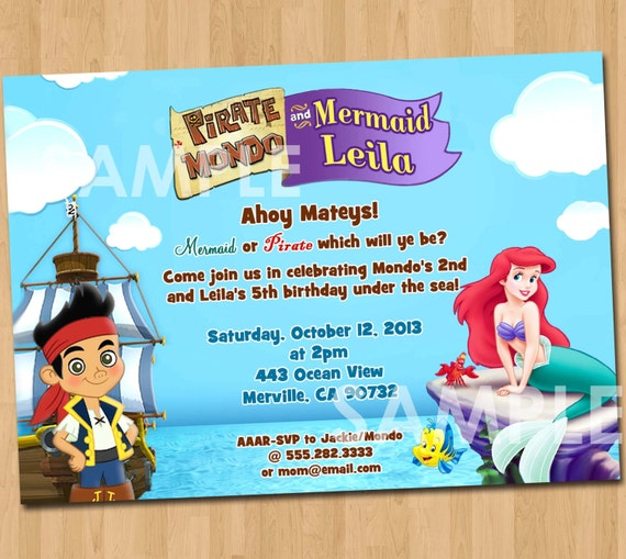 pirate and mermaid invitation printable birthday party, Birthday invitations