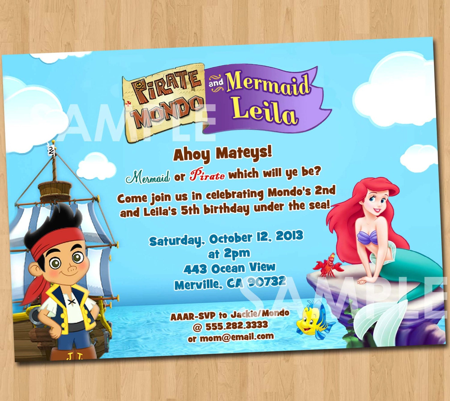 Pirate and Mermaid Invitation Printable Birthday Party – Kids Pirate Party Invitations