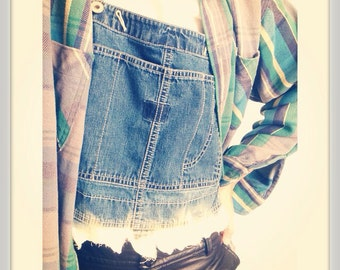 Vintage Nineties 1990s 90s Grunge Cropped Overalls Dungarees DIY Upcycled Bleached Destroyed Bib Top L