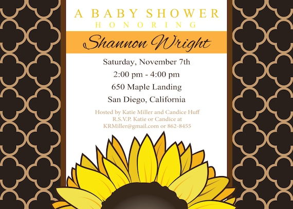 sunflower baby shower invitation fall shower invitation, Baby shower invitations