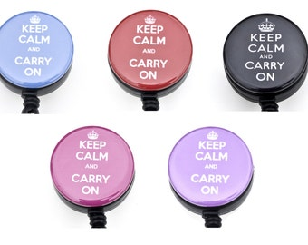 Package Deal of 5 Keep Calm and Carry On Retractable Badge Reels/ ID Badge Holder