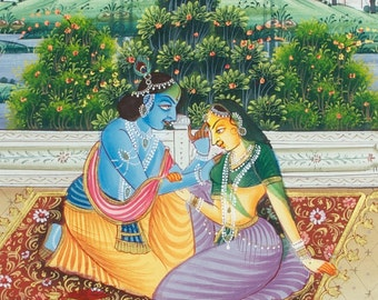 Mughal painting from Rajasthan (no. 22) - Fine traditional drawing on silk