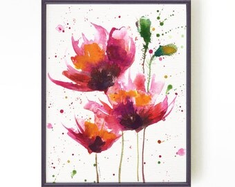 Poppies watercolor painting, Floral art, Botanical art, Fuchsia, Apartment decor, Wall Decor, Pink Red poppies #1 Buy 2 Get 1 FREE