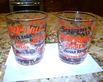 SALE - Pair of Clear Glass Imprinted Liquor Tumblers