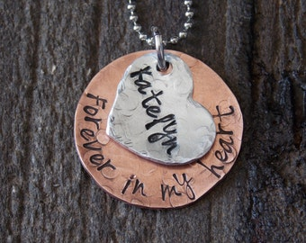 Hand Stamped Jewelry-Remembrance Jewelry-Memorial Jewelry-Forever in my heart necklace with personalized heart-Copper