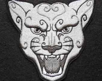 Big Cat,  Iron on Patch, Cougar, Wild Cat, Biker, Motorcycle,Tattoo, Embroidered Patch