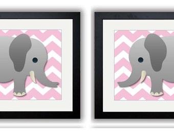Pink Chevron Grey Elephant Nursery Nursery Art Print Set of 2 Elephants Child Art Prints Boy Kids Room Wall Art Nursery Decor Baby