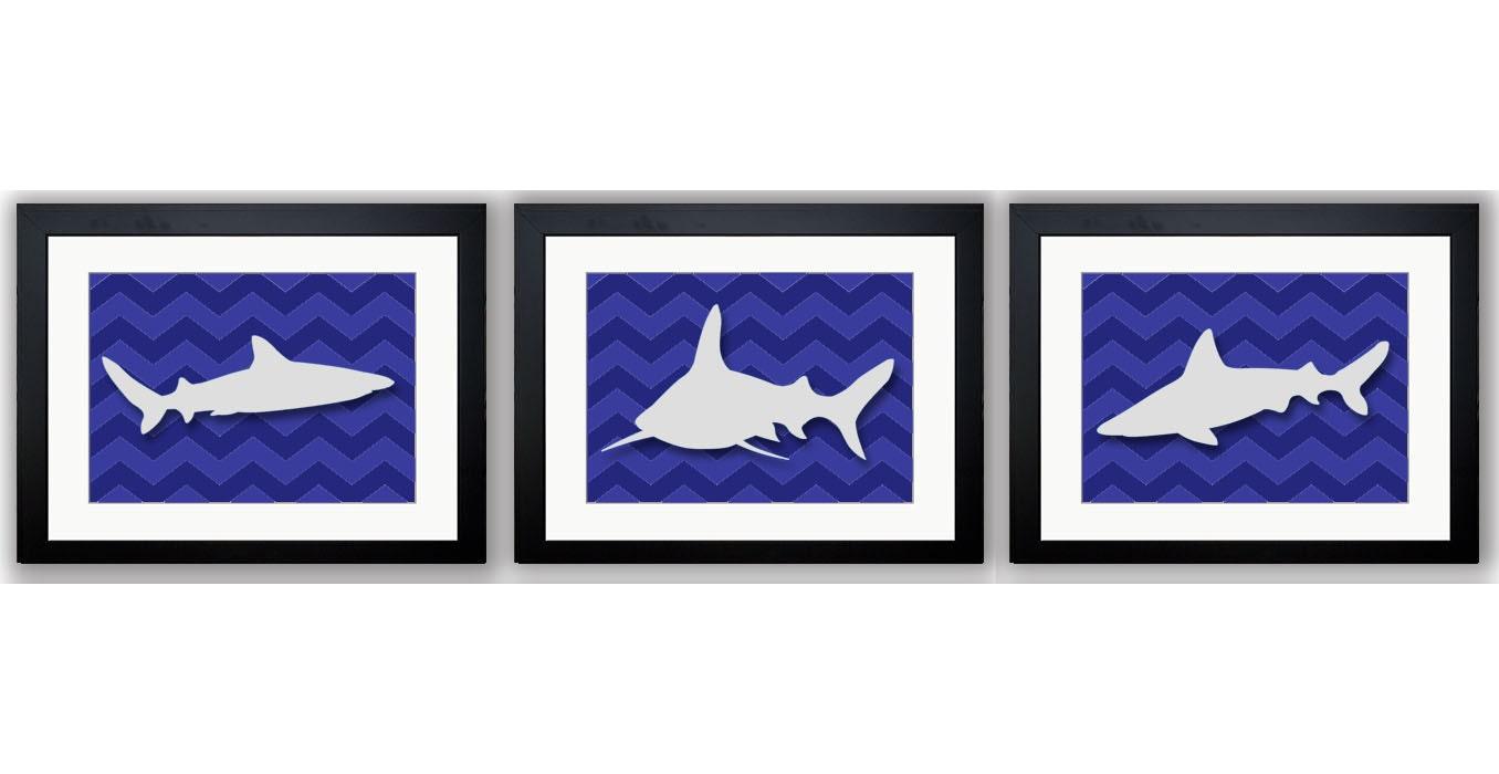 Shark Animals Boys Art Print Chevron Set of 3 White Sharks Nursery Art Nursery Print Child Kids Room