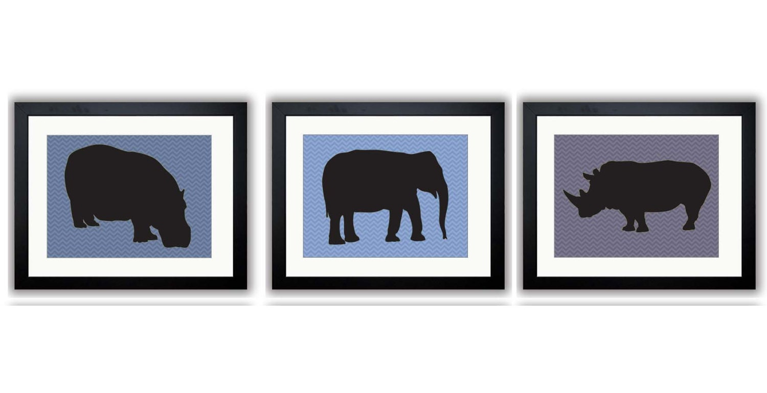African Safari Animals Art Prints Blue Chevron Set of 3 Hippo Elephant Rhino Boy Art Nursery Art Nur