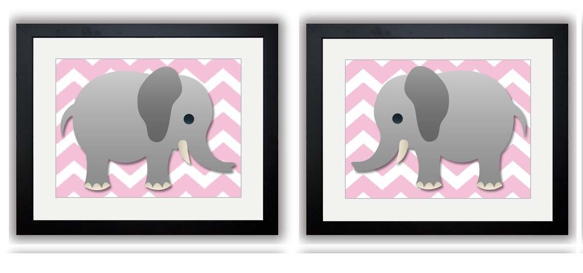 Pink Chevron Grey Elephant Nursery Nursery Art Print Set of 2 Elephants Child Art Prints Boy Kids Ro