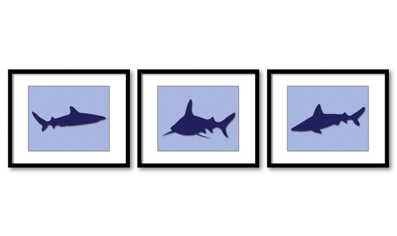 Shark Animals Art Prints Set of 3 Blue Sharks Boy Art Nursery Art Nursery Print Child Kids Room Wall