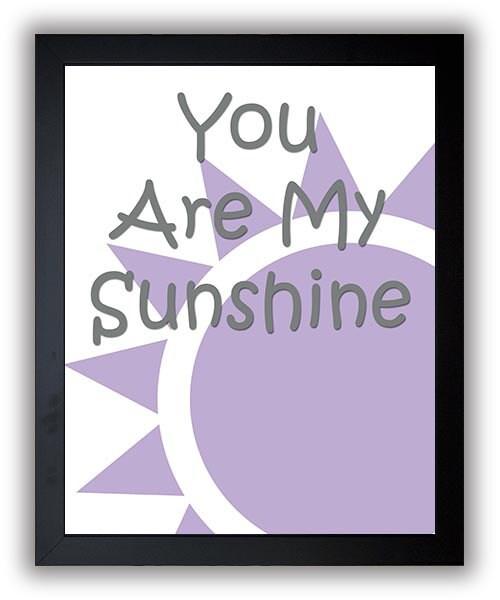 You Are My Sunshine Nursery Art Nursery Print Baby Art Sun Print Purple Grey Gray Baby Art Baby Pink