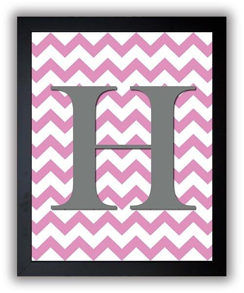 Custom Letter Monogram Nursery Art Chevron Grey Gray Pink Nursery Art Print Decor Child Baby Girl Ar