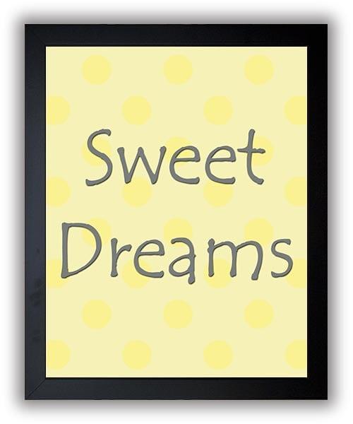 Sweet Dreams Print Nursery Art Nursery Baby Art Polka Dots Yellow Grey Gray Decor Child Baby Art Pri
