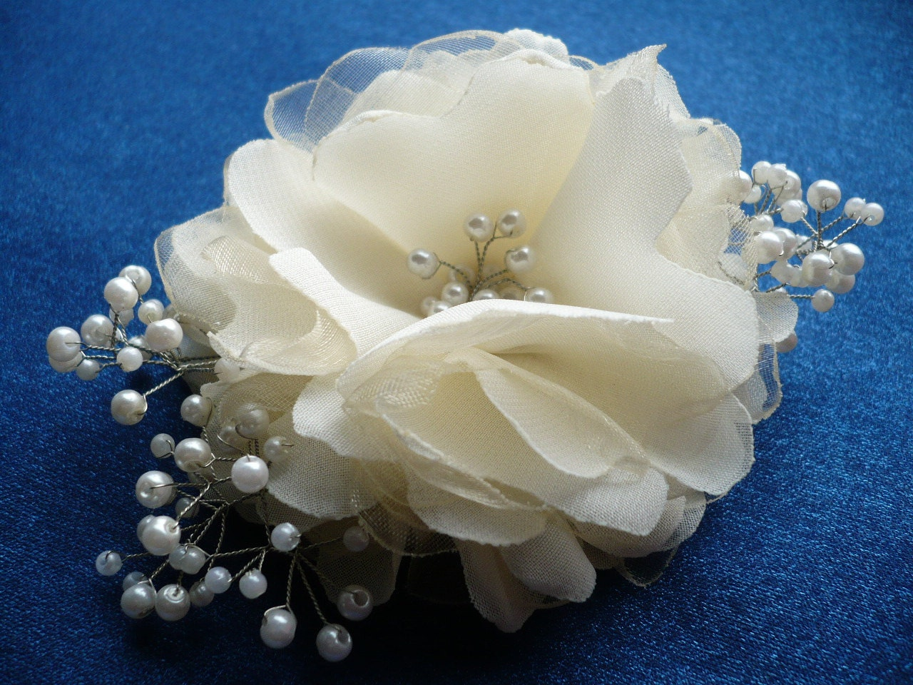 Bridal Ivory Flower Hair Accessories : Ivory hair clip flower bridal accessories