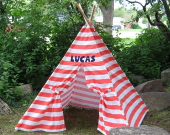 Personalized Striped Kids Teepee Tent, ONE NAME ONLY, Choose Your Stripe Color, 6 Foot Poles Included