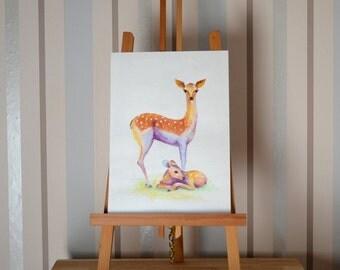 Deer with the baby...Original watercolor pencils  8 x 10