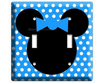 Bbay blue Minnie Mouse polka dots double light switch cover plate children room girls bedroom room decor decoration